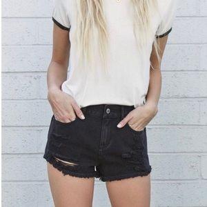 black high-rise short shorts